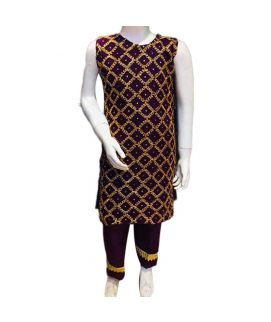 Women's Embroidered Mahroon Kurti With Pajama