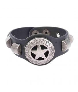 Black Leather Stylish Bracelet JP 1472