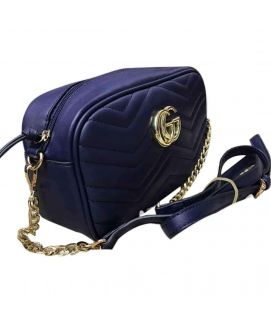 Women's Blue Leather Clutch With Golden Chain