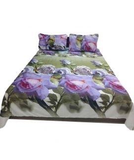 Green Printed Flower Bedsheet With Pillow Covers
