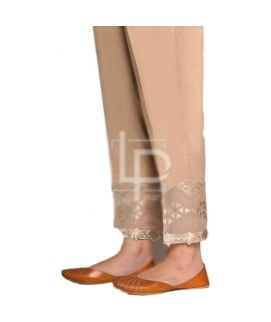 Women's Tissue Embroidery Brown Cigg pant