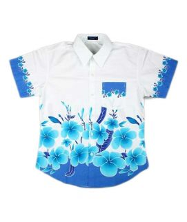 White Printed Flowers Shirt For Boys