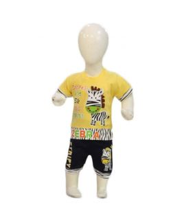 Boys Black & Yellow Shorts And TShirt Sets
