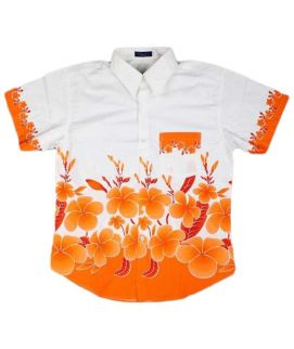 Orange Printed Flowers Shirt For Boys