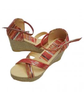 Women's Wedges Maroon with Shiny Stripes