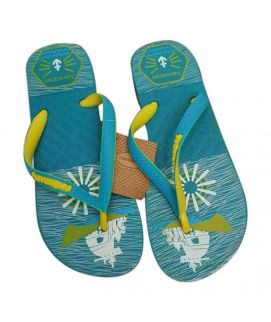 Men's Flip Flops Slippers Turquoise Printed