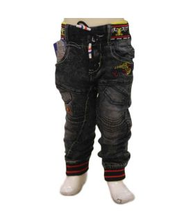 Boys Black & Red Denim Jeans