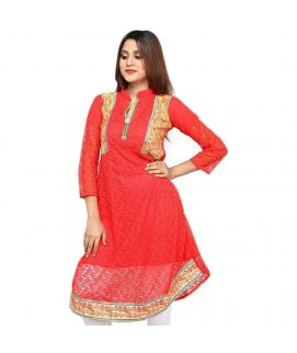 Women's Red Net Embroidered Kurti With Pajama