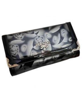 Women's Black Shining Leather Clutch