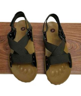 Men's Green & Fawn Single Strap Sandals