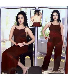 4pc Slip Nighty Gown Capri Set Maroon