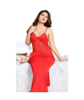 2Pc long Net Bridal Gown Set Nightwear