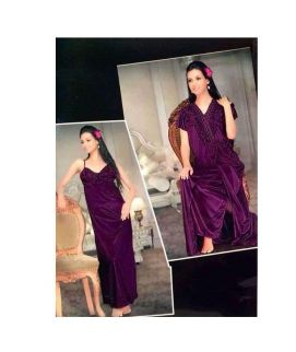 6Pc Bridal Nightwear Set Purple Gown