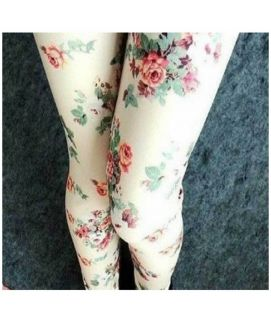 Flower Print Women's Leggings Slim Fit