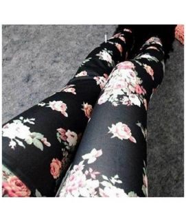 Flower Print Women's Black Leggings Slim Fit