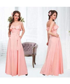 Women's Long Sleevless Pink Dress