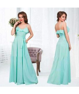 Women's Long Sleevless Turquise Dress