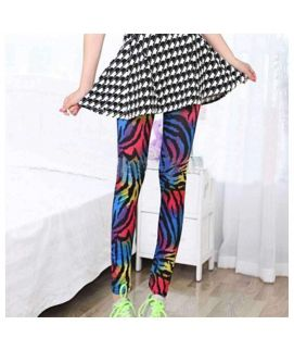 Women's Elastic Striped Printed Stretch Leggings