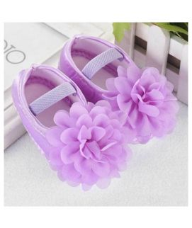 Purple Chiffon Flower New Born Baby Shoes