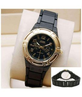 Black & Golden Stylish Wrist Watch For Women