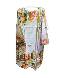 Women's Flower Printed White Kurti