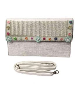 Flower Design Off White Clutch For Women