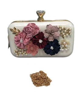 White Clutch With Shoulder Chain For Women