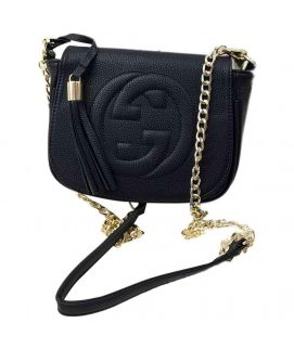 Women's Black Leather Clutch With Golden Chain