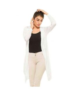 Women's White Viscose Shrug