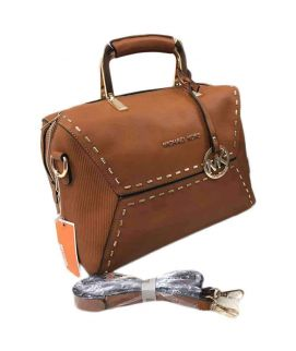 Brown & Golden Duffle Handbag For Women