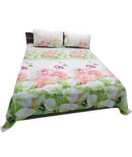 Peach Flower Printed White Bedsheet With Pillow Covers