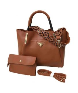 Brown Handbag With Clutch For Women