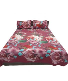 Maroon Printed Flower Bedsheet With Pillow Covers