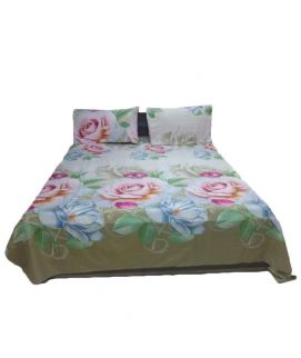 Brown Printed Flower Bedsheet With Pillow Covers