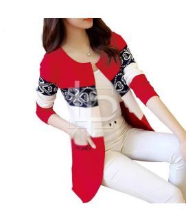 Women's Printed Red Fleece Coat