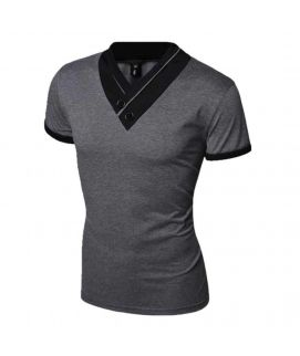 Vneck Black & Grey Half Sleeve Men's T-Shirt