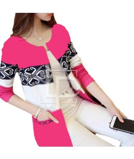 Women's Printed Pink Fleece Coat