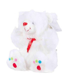 "9"" White Bear With Multicoloured Dots On Feet"