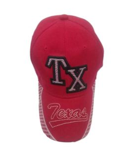 Red TX Printed New Casual Fitted Hats And Caps For Men