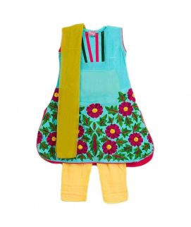 Ferozi Mixed Cotton Embroidered Suit For Girls