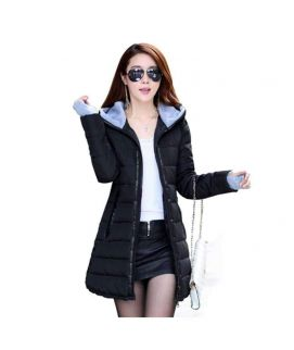 Women's Wadded Down Black Slim Coat