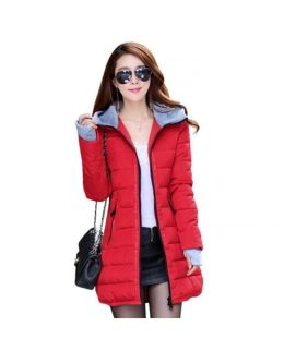 Women's Wadded Down Red Slim Coat