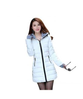 Women's Wadded Down White Slim Coat
