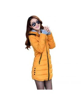 Women's Wadded Down Yellow Slim Coat