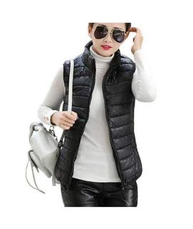 Women's Sleeveless Korean Black Slim Coat