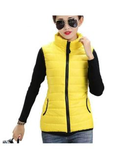 Women's Sleeveless Korean Yellow Slim Coat