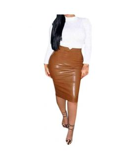 Women's Leather Brown Pencil Skirts