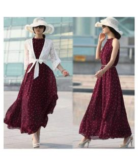 Women's Red Dot Dress Boho Long Maxi Chiffon Dress