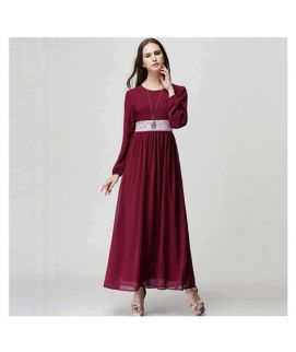 Women's Maroon Long Sleeve Chiffon Kaftan Floor Length Lace Dress