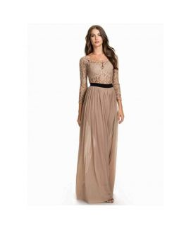 Women's Long Sleeve Khakhi Chiffon Dress